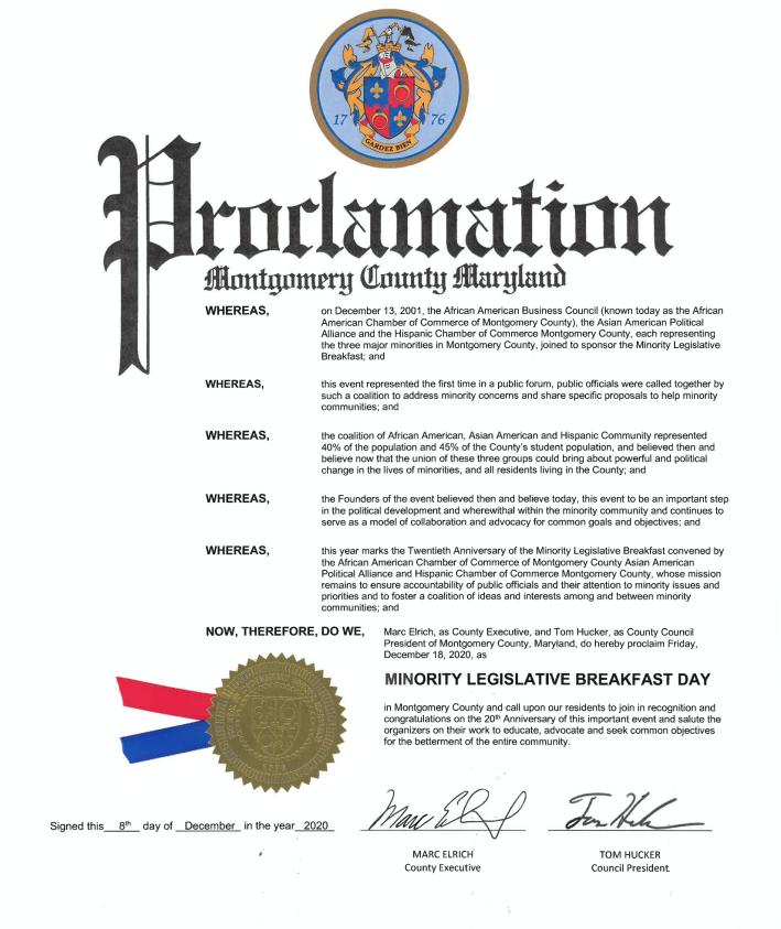 Minority Legislative Breakfast Day Proclamation 2020